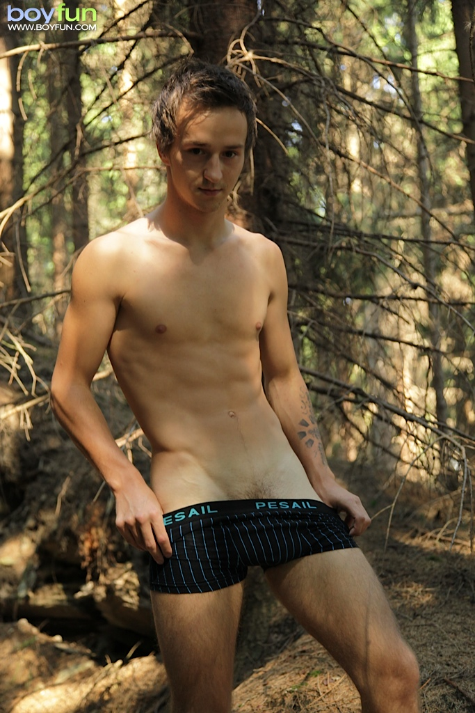 Boys jack off in woods